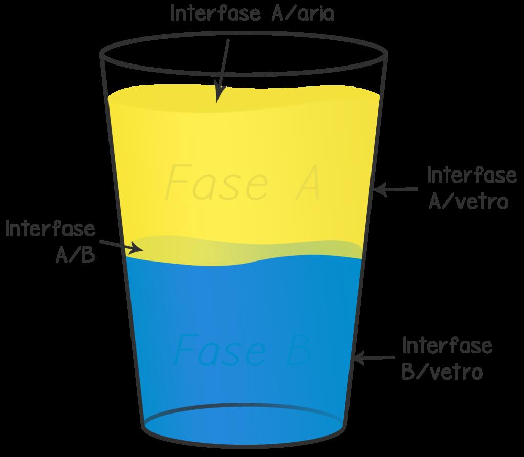 interfase; fase acquosa; fase oleosa; fasi chimiche;
